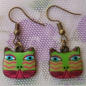 laurel Burch cat artistic handmade earrings new